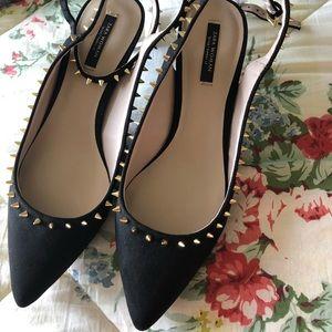 Kitten heel zara studded shoes